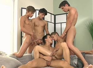 Twinks gangbang 5 boys lot of cum squirt and slow motion