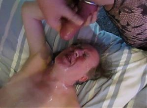 TV spunking off in mouth