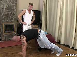 Gay play with hunky bald coach