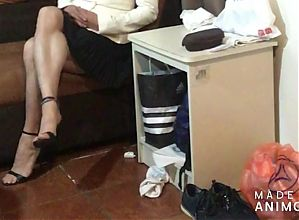 Legs and muscle calves in black skirt and black heels part 2