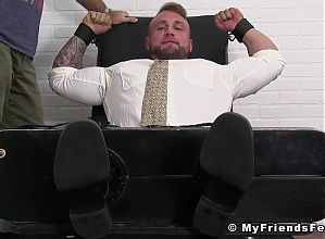 Beefy businessman Gavin severely tickled in bondage